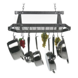 "Decor Retro Rectangle Kitchen Pot Rack - Wake up your kitchen decor... and clear the clutter while you're at it! The retro-modern shape of this kitchen pot rack is fresh and stylish and adds a splash of character to any kitchen. The hammered steel finish will last and last even in the most intense of environments. The storage grid holds hooks for hanging pots pans and utensils and also serves as a shelf for cookbooks and more. This pot rack also features 6 trademark rolled ends (at the tips of the scrolls) that can hold thin handled utensils like wooden spoons and wisks. The retro rack includes a grid 12 essential pot hooks two ""S"" hooks two 6-inch chains and two ceiling screw hooks. This rack mounts on 16-inch centers has a five year workmanship warranty and is made in the U.S.A. Simple assembly required. Keep your kitchen in tip top shape and organized in style!"