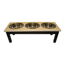 3 Bowl Traditional Style Diner Large Espresso/Natural - 3 Bowl Traditional Style Diner Large Espresso/Natural Completely assembled.-Each bowl holds 2 quarts. Includes: -Includes stainless steel, dishwasher safe bowls Large Dimensions: 29x11x12 2 qt bowls