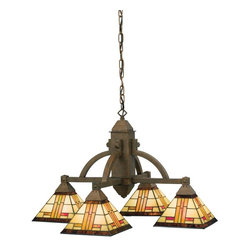 Kichler - Kichler Art Glass Pendant Chandelier in Bronze - Shown in picture: Kichler Chandelier 4Lt in Patina Bronze