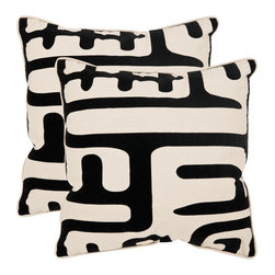 Safavieh Home Furniture - Maize 18-Inch Black Decorative Pillows - Set of Two - - Maize 18-Inch Black Decorative Pillows - Set of Two  - Please note this item has a 30-day manufacturer's limited warranty that covers product defects. Inspect your purchase upon delivery and notify us immediately with any concerns. Safavieh Home Furniture - PIL162A-1818-SET2