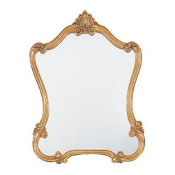 Walton Vanity Hall Mirror - 26W x 36H in. - The Walton Hall Mirror is a refined elegant piece. Curvaceous scrolls create an hourglass shape and shell accent at the top. The frame of this beveled mirror is enveloped in a beautiful antique speckled gold wash.Here's what you need to know to hang your new Uttermost Mirror. Hanging a mirror even if it is a large heavy piece is not a problem if you have the right hanging hardware and a hammer. The best hanging hardware for most walls is the J-hook. It is designed to keep the nail that goes into the wall at a sharp angle so that even in drywall it will stay in place. It is important that the J-hook be properly weighted for the item you want to hang. On all Uttermost products the proper J-hook and nails are included to make sure you have exactly the hardware you need for hanging each piece. On the largest Uttermost mirrors we provide a self-leveling adjustable J-hook. With this hardware even if the item is slightly uneven the hangers can be adjusted without moving the nails from the wall.About UttermostThe mission of the Uttermost Company is simple: to make great home accessories at reasonable prices. This has been their objective since founding their family-owned business over 30 years ago. Uttermost manufactures mirrors art metal wall art lamps accessories clocks and lighting fixtures in its Rocky Mount Virginia factories. They provide quality furnishings throughout the world from their state-of-the-art distribution center located on the West Coast of the United States.