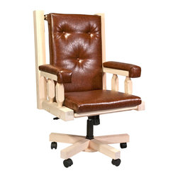 Montana Woodworks - Montana Woodworks Homestead Upholstered Office Chair Lacquered - From Montana Woodworks the largest manufacturer of handcrafted heirloom quality rustic furnishings in America comes the Homestead Collection line of furniture products. Handcrafted in the mountains of Montana using solid American grown wood the artisans rough saw all the timbers and accessory trim pieces for a look uniquely reminiscent of the timber-framed homes once found on the American frontier. The perfect chair to accompany the perfect desk! This handcrafted office chair features an adjustable base for comfort and ease of use. Upholstered seat back and arms take the strain out of long sessions at the desk and help to alleviate fatigue. Some assembly required. 20-year limited warranty included at no additional charge.