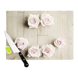 "Kess InHouse - Cristina Mitchell ""Smile"" Wood Roses Cutting Board (11"" x 7.5"") - These sturdy tempered glass cutting boards will make everything you chop look like a Dutch painting. Perfect the art of cooking with your KESS InHouse unique art cutting board. Go for patterns or painted, either way this non-skid, dishwasher safe cutting board is perfect for preparing any artistic dinner or serving. Cut, chop, serve or frame, all of these unique cutting boards are gorgeous."