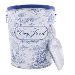 Blue Dog Food Canister - This durable, tin-plated steel food storage canister is FDA approved. Convenient carrying handles and a handy aluminum scoop. Holds 10lbs of dry food. Blue toile from the Harry Barker Collection, it's pretty enough to leave out for all to see!