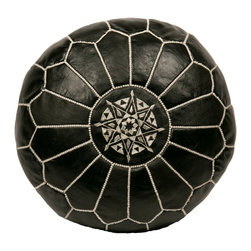 "Casablanca Market - Embroidered Leather Pouf, White on Black - Authentic Moroccan hand-made leather hassock commonly known as Poof is made out of genuine soft leather. The poof is so practical it can be used as a foot stool, as a low seat next to your coffee table or in your children room. This pouf is pre-stuffed with cotton batting. This provides comfort and durability for the poofs.  Zippered bottom opening for easy stuffing. Measurement: Diameter: 20"" Height: 12"""