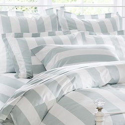 PB Classic Stripe 400-Thread-Count Duvet Cover, Twin, Porcelain Blue - Awning stripes give this bedding its all-American appeal. We've printed them across luxuriously soft 400-thread count cotton percale. 100% cotton percale. 400 thread count. An Easy-Care finish ensures that the bedding emerges smooth from the dryer. Duvet cover has a hidden button closure and interior ties to keep the duvet in place. Sham has an envelope closure; insert sold separately. Machine wash. Internet Only. Imported.