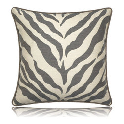 Elaine Smith - taupe zebra pillow (20x20) - Performance pillows from renowned textile designer Elaine Smith® feature unique fabrics that are both soft and stylish, rich in color, lavish in detail, and impervious to the elements.