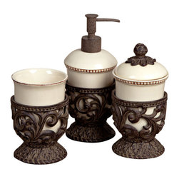 GG Collection - GG Collection Vanity Set Bathroom Accessories - Vanity Set, 3 pc, Cream Ceramic w/Metal Holders, Pump 3.5in Dia x 8in H, Cup w/Lid 3.5in Dia x 6.75in, Cup 3.5in Dia x 5in, Care: Ceramic and metal, hand wash in mild soap, dry with a soft cloth