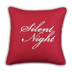 Chooty and Co Circa Solid Lava Silent Night Embroidered Throw Pillow - Elegant and meaningful, the Chooty and Co Circa Solid Lava Silent Night Embroidered Throw Pillow showcases the reason for the season. A graceful addition to your sofa or guest bed, this decorative pillow is made of 55% linen and 45% rayon in a rich red color. It features a winter white braided trim and embroidered Silent Night script. A thick hypoallergenic poly fill rounds it out nicely.About Chooty & Co.A lifelong dream of running a textile manufacturing business came to life in 2009 for Connie Garrett of Chooty & Co. This achievement was kicked off in September of '09 with the purchase of Blanket Barons, well known for their imported soft as mink baby blankets and equally alluring adult coverlets. Chooty's busy manufacturing facility, located in Council Bluffs, Iowa, utilizes a talented team to offer the blankets in many new fashion-forward patterns and solids. They've also added hundreds of Made in the USA textile products, including accent pillows, table linens, shower curtains, duvet sets, window curtains, and pet beds. Chooty & Co. operates on one simple principle: What is best for our customer is also best for our company.