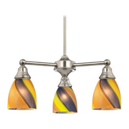 Design Classics Lighting - Mini-Chandelier with Art Glass in Satin Nickel Finish - 598-09 GL1015MB - Transitional satin nickel 3-light chandelier. Takes (3) 100-watt incandescent A19 bulb(s). Bulb(s) sold separately. UL listed. Dry location rated.