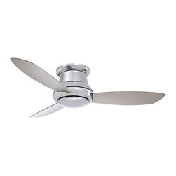 "Minka Aire - Contemporary 52"" Minka Aire Concept II Polished Nickel Hugger Ceiling Fan - This Minka Aire Concept II polished nickel hugger ceiling fan is ideal for low-ceiling applications. Included with this contemporary fan is a full-functioning hand held remote control and three concave silver finish blades. It has a 172x20 motor with a lifetime warranty. Integrated light kit includes one 100 mini-can halogen bulb and a cap for non light kit usage. Brushed nickel finish. Hugger style ceiling fan. Ideal for low ceilings. Integrated light kit. Includes hand-held remote control. Includes one 100 mini-can halogen bulb. 52"" blade span. 14 degree blade pitch. Fan height 10 1/2"" blade to ceiling. Fan height 11 1/2"" ceiling to light kit.  Polished nickel finish.   Hugger style ceiling fan.   Ideal for low ceilings.   Integrated light kit.   Includes hand-held remote control.   Includes one 100 mini-can halogen bulb.  52"" blade span.   14 degree blade pitch.   Fan height 10 1/2"" blade to ceiling.   Fan height 11 1/2"" ceiling to light kit."