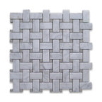 """Stone Center Corp - Carrara Marble Basketweave Mosaic Tile Gray Dots 1x2 Honed - Carrara white marble 1"""" x 2"""" rectangle pieces and Bardiglio Gray 3/8"""" dots mounted on 12"""" x 12"""" sturdy mesh tile sheet"""