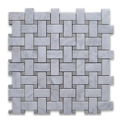 "Stone Center Corp - Carrara Marble Basketweave Mosaic Tile Gray Dots 1x2 Honed - Carrara white marble 1"" x 2"" rectangle pieces and Bardiglio Gray 3/8"" dots mounted on 12"" x 12"" sturdy mesh tile sheet"
