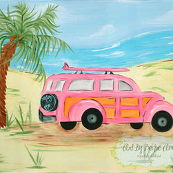 """Pink Island Surf """"Woody Car"""" - Decorate your little surfer's room with this art.  This art would look great in a surfer/beach/tropical theme bed room or bath."""