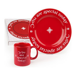 Waechtersbach - You Are Special Today Mug and Plate Set - It is a time-honored tradition among many families that when someone deserves special praise, they are served dinner on The Red Plate. Acknowledge your family's special triumphs with the You Are Special Today Plate and Mug. Use them plate to commemorate birthdays, engagements, graduations, a new baby or new house, Mother's Day, Father's Day, anniversaries, homecomings, promotions...the possibilities are endless! Arrives gift-boxed, with a permanent marker that can be used to note the reason for celebration on the bottom of the plate or mug.