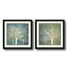 Amanti Art - Tranquil Forest - set by Erin Clark - Bring a fresh, modern feel to your decor with these stunning art prints by Erin Clark. Using pale, marbleized hues and overlapping, silhouetted trees, the artist combines diverse elements for a striking effect.