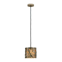 Uttermost - Uttermost 21839 Alita Champagne Single Light Mini Metal Hanging Shade Pendant fr - Uttermost 21839 Carolyn Kinder Alita Champagne Mini Metal Hanging ShadeSilver/champagne leaf finish on metal strips with black dry brushing and antique stain.Features:
