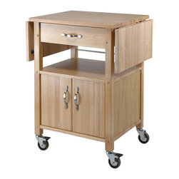 Winsome Wood - Winsome Wood Double Drop Leaf Kitchen Cart - Cabinet w/ Shelf in Beech - With two drop-leaf counter tops that provide a long, smooth surface, this cart is a perfect addition to any kitchen. Ideal for storing right next to a dining room table, it has room to stow plates, glasses, and flatware. Kitchen Cart (1)
