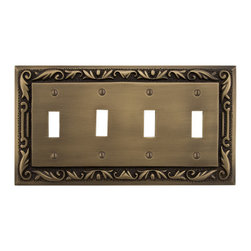 Floral Design Solid Brass Quadruple Switch Plate - Perfect for a room with multiple switches, this plate cover accommodates four toggle switches. This plate made of solid brass and features a charming floral design.