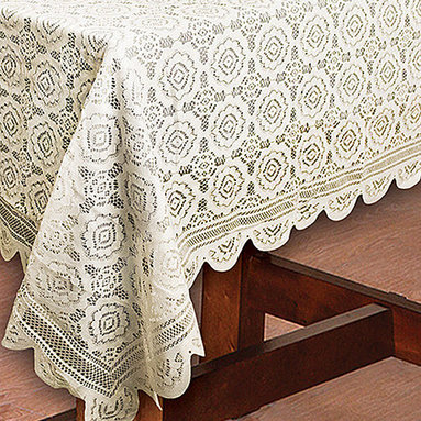 Design Imports - Vintage Lace Tablecloth - This vintage-inspired tablecloth adds elegance and charm to the dining room when preparing for a family dinner.   100% polyester Machine wash; tumble dry Imported