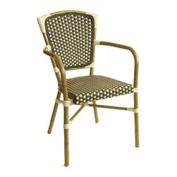 Bali Hai Aluminum Bamboo-Look Arm Chair In Brown - This is an inexpensive option besides the traditional bistro chair. I love the arms and the color of this chair!