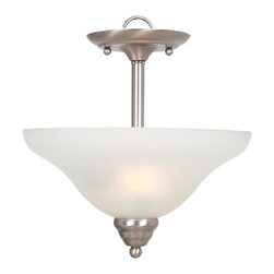 YOSEMITE HOME DECOR - 2 Lights in verted Pendant in Satin Nickel Finish - - Satin Nickel Finish with White etched Glass/Shade