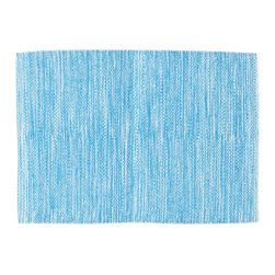 """Pine Cone Hill - PCH Mingled Turquoise Placemat Set of 4 - Perk up the table with the versatile Mingled placemats in turquoise blue by PCH. Designed for indoor and outdoor use, layer these easy-care table mats with other colors and patterns to create a variety of looks. 20""""H x 14""""W; Set of 4; 100% polypropylene; Designed by Pine Cone Hill, an Annie Selke company; Machine wash, line dry"""