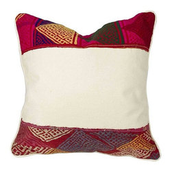 Used Bohemian Tribal Lace Pillow - Add a modern Bohemian Tribal vibe to your decor with this lace pillow. Highlighting vintage laces in vibrant colors, it has 3 buttons up the back and is in brand new condition.