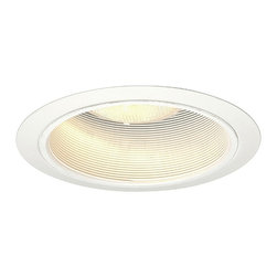 """Juno - Juno 6"""" Line Voltage White Baffle Recessed Light Trim - This 6"""" recessed light from Juno Lighting uses a higher wattage for the most efficient and best output. The white baffle helps in absorbing stray light and blends into the ceiling. It features deep lamp shielding for maximum brightness control and a straight baffle trim. To be used with Juno Lighting IC New Construction Non-IC New Construction and Non-IC Remodeling recessed light housing. Takes up to a 90 watt PAR 38 bulb (not included). 5 3/4"""" aperture. 6"""" straight white baffle trim recessed light. Uses a 65W R30 bulb (not included).  White trim.  White baffle.  Line Voltage.  Rated for use with one 90 watt PAR 38 bulb (not included).   5 3/4"""" aperture."""