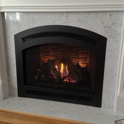 Direct Vent Gas Fireplaces - Traditional - Fireplace Xtrordinair 864 TRV GS2 Direct Vent Gas Fireplace with Handmade Brick Panels & Black Classic Arch Face - Supplied & Installed by NYC Fireplaces & Outdoor Kitchens of Maspeth, NY.