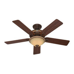 Hunter - Hunter Aventine (2013) Ceiling Fan in Cocoa - Hunter Aventine (2013) Model HU-53134 in Cocoa with Reversible Dark Walnut/Cherried Walnut Finished Blades. Single Bowl Fixture Included with Aventine Fans.