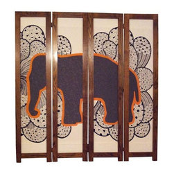 "Used ""Elephant In the Room"" White Divider - Solid oak frames surround these modular four panel fabric scenes. This ""elephant in the room"" divider is hand-stitched and signed by the artist. Many of the fabric edges are designed to be rough to avoid a billowing seam effect but treated to act against fraying. It is assembled with double-action hinges that swing both left and right 180 degrees.     Unlike other screens with simple fabric pieces or cardboard backings, the backside wood grain is just as attractive as the front. Each 2-panel structure can be folded to protect the fabric scene when not in use; note, it's designed to be (2) 2-panel structures, as it's heft does not allow it to be one unit. You won't be able to ignore this elephant in the room!     While this is a one-of-a-kind piece, there is a companion elephant screen. If you're interested in purchasing both, please email: support@chairish.com."