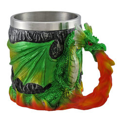 Zeckos - Green Dragon with Flame Coffee Mug 12 Oz. - Greet the day with this green dragon mug that holds 12 fluid ounces of coffee, tea, or hot chocolate. It features a metallic dragon with fiery breath that creates the decorative handle. The stainless steel liner helps keep your drink warm or cool and is easy to clean. The mug measures 4 1/4 inches tall and is 3 1/4 inches in diameter. It is made of cold cast resin, is hand painted, and should be washed by hand.
