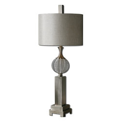 Uttermost - Barzillay Silver Metal Lamp - This drum-shade lamp marches to its own beat. It has this great transitional style that allows you to place it in traditional or contemporary spaces, pairing a metal-wire sphere with a streamlined rectangular base.