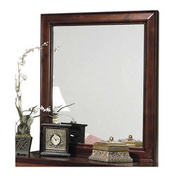 Coaster - Coaster Saint Laurent Vertical Mirror in Cherry Finish - Coaster - Mirrors - 200434 - The Coaster Saint Laurent Vertical Mirror is constructed of select hardwood solids and veneers with a rich cherry finish. It features simple rectangular shape that will instantly brighten your room. Combine it with the Saint Laurent Double Dresser for a complete set. Add traditional charm to your bedroom with the Saint Laurent Vertical Mirror.