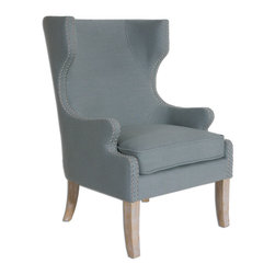 "Uttermost - Graycie High Back Wing Chair - Elegant gray linen accented by a double row of polished nickel nails highlighting the eccentric, curved wing and track arm down to the whitewashed, solid oak legs. Seat height is 20""."