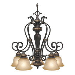 Golden Lighting - Jefferson 5-Light Nook Chandelier - Bulbs not included. Requires five incandescent type A 100 watt medium base bulbs. Five E27 sockets. Total wattage: 500. Electric wire gauge: 0288# SPT-1 +340cm 18# 105 degree C. Traditional style. Sculpted arms. Decorative brace and intricate feel. Thick antique marbled glass shade. UL listed for dry location. Made from metal and poly resin. Etruscan dark bronze color. Wire length: 10 ft.. Chain length: 6 ft.. Glass shade: 7 in. Dia. x 4.5 in. H. Canopy: 6.38 in. Dia.. Overall: 24 in. W x 24.5 in. H. Warranty. Assembly Instructions
