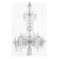The Gallery - Swarovski crystalrimmed chandelier - Crystal chandelier chandeliers Lighting H - This beautiful chandelier is trimmed with Sprectra crystal reliable crystal by Swarovski. Swarovski is the world's leading manufacturer of high quality crystal. Sprectra crystal Swarovski undergoes stringent quality control and offers the best crystal uniformity of sparkle, light reflection and Sprectral colors. Crystal chandelier. A Great European Tradition. Nothing is quite as elegant as the fine crystal chandeliers that gave sparkle to brilliant evenings at palaces and manor houses across Europe. This unique version from the Royal Collection features the 100% crystal that captures and reflects the light of the candle bulbs, each resting in a scalloped bobache. The timeless elegance of this chandelier is sure to lend a special atmosphere in every home.Assembly Required. Lightbulbs not included