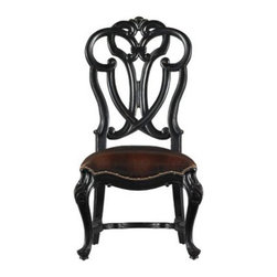 Stanley Furniture - Stanley Costa Del Sol Messalina's Blessings Side Chair Artisan 971-81-60 Multico - Shop for Dining Chairs from Hayneedle.com! With the gorgeous and intricate looks of a Gothic cathedral the Stanley Costa Del Sol Messalina's Blessings Side Chair Artisan 971-81-60 features European design at its finest. The ultra-comfortable leather seat is accented with nailhead trim. Every room can use a pop of black and the finish on this chair is the perfect accent. The delicately bowed front legs and intricately detailed carved back make for European style that is the perfect finishing touch to any space.The Costa Del Sol CollectionFrom Portugal's white-washed beaches to Greece's sparkling azure waters the Costa del Sol collection blends traditional styles from Europe's southern sea coast with alluring Spanish scrolling and decadent carefree charm of a Tuscan country house. Old-World wood grain is brought to vivid life with rustic mid-tone finishes or hand-rubbed dark coffee colors buffed to a soft satin glow. Authentic distressing techniques like burnishing cow-tailing and axe marks enhance the well-loved heirloom appearance of each item in this matching collection.Stanley Furniture Craftsmanship Stanley Furniture's main objective is to produce quality and stylish furniture by using the best wood materials construction procedures and elegant finishes on their products to help you fashion your home decor the way you imagined. All of their furniture is hand-crafted from quality woods incorporating other superior materials such as aluminum glass plastic leather and marble. Every joint is carefully constructed (keeping wood's sensitivity to heat and humidity in mind) allowing for expansion and contraction. All joints are held together with glue and nail. Stanley's 30-step finishing process starts with an undertone stain that is applied to a hand-sanded piece. Next the stain is sealed with a wash coat then hand sanded again with filler applied to pack the wood por
