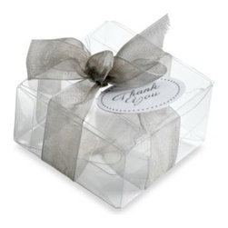 Gartner Studios - Gartner Studios 50-Count Clear Favor Box - Clear boxes are ideal for wedding favors or small gifts. It's topped off beautifully with a silver-colored bow and thank you tag.