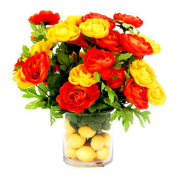 Red and Yellow Ranunculuses in Glass Vase with Lemon Arrangement - This bright piece is made with red and yellow ranunculuses in a clear, tall and wide glass vase. The arrangement is placed in lemons and acrylic water. Perfect for the spring or summer season!