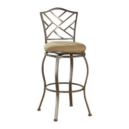 Hillsdale - Hillsdale Hanover 30 Inch Swivel Bar Stool - Hillsdale - Bar Stools - 4815844 - Our Hanover barstool features a delicate lattice backed design and boasts a brown powder coat finish.