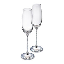 Swarovski - Swarovski Crystalline Toasting Flutes, Set Of 2 - Delicate, elegant, and very festive, this is a set of two flutes for very special occasions.
