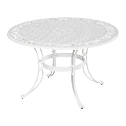 "Home Styles - Home Styles Biscayne 48"" Round Dining Table in White Finish - Home Styles - Patio Dining Tables - 555232 - Home Styles Biscayne 48 inch Round Outdoor Dining Table is constructed of cast aluminum with a White finish. Features include a powder coat finish sealed with a clear coat to protect finish attractively patterned table top has center opening to accommodate umbrellas and nylon glides on all legs. Item Size: 48w 48d 30h.  Stainless steel hardware."
