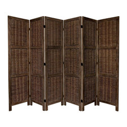 Oriental Furniture - 5 1/2 ft. Tall Bamboo Matchstick Woven Room Divider - Burnt Brown - 6 Panel - There is an ancient appeal to rattan style woven plant fiber, and this new design room divider takes full advantage. The panels are built for beauty and for strength, with two cross members dividing each panel into three sections. A high quality room divider with a lovely rustic, tropical look. The simple, classic lines are attractive to look at, and compliment modern, contemporary American eclectic home decor. Also, this new wood frame and matchstick design looks equally attractive from the front or back side. Use this screen where people can see it from both sides. A unique design, excellent quality, at a great price.