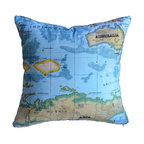 KH Window Fashions, Inc. - Old-Fashioned World Atlas Map Pillow- Blue - Decorative Old-Fashioned World Atlas Map Pillow