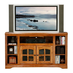 Eagle Furniture Manufacturers - Oak Ridge Corner Entertainment Console w Shelves (Medium Oak) - Finish: Medium Oak. Two glass panel doors. One adjustable wood shelf. Four fixed wood shelves. Designed with decorative molding and fluted detailing. Warranty: Eagle's products are guaranteed against material defects for one year from date of delivery to the dealer. Made in USA. No assembly required. 55 in. W x 17 in. D x 32 in. H (94.7 lbs.)The Oak Ridge collection combines American oak hardwood with updated contemporary styling. Heavy crown molding, sleek lines, fluted side molding, black brushed metal hardware, solid oak frames and solid oak recessed doors give this transitional collection a style all its own