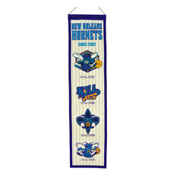 Winning Streak Pennants - New Orleans Hornets NBA 8 x 32 Heritage Banner - Check out this Awesome wool Heritage banner. It features embroidery and appliqued graphics in official team colors. It's perfect for your Man Cave, Game Room, Office or anywhere else you want to show love for your team.