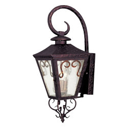 Maxim Lighting - Maxim Lighting Cordoba Forged Iron Traditional Outdoor Wall Sconce X-IODC45103 - The Maxim Lighting Cordoba Forged Iron Traditional Outdoor Wall Sconce adds personality to any architectural setting. Charming and graceful, this light fixture is inspired by early American styles. Seedy glass shade panels are framed by Oil Rubbed Bronze finished Forged Iron housing. Curling scroll accents dance on the glass panels and underneath the lighting fixture to create a welcoming ambiance for all.