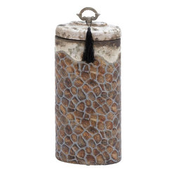 Benzara - Ceramic Jar with Perfect Lid and Metal Handle - Flaunting a rich look and nicely designed, this ceramic jar will enhance the ambience and recreate an artistic look to the surroundings. Having a cylindrical shape, this jar comes with a compact lid that closes the jar perfectly. The lid has a sturdy metal handle with a fancy thread mass hanging from it. The brown shaded portions are fashioned with ash colored lines that form a beehive pattern. The top portion along with the lid is white colored with ash colored spots. The smooth finish and the weathered look combine together to make this ceramic jar a wonderful piece of art. Made of high quality ceramic material, this jar comes with exquisitely worked patterns all around and has an earthy look with the brown and white shade combination.